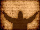 Jesus christ silhouette manuscript background — Stock Photo