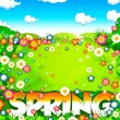 Spring word, flowers meadow and sky - Stock Photo