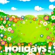 Summer holidays  meadow and sky background - Stock Photo