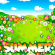 Summer word, flowers meadow and sky - Stock Photo
