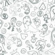 Children pencil scribbles background - Stock Photo