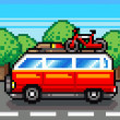 Car going for summer holiday trip - retro pixel illustration - Stock Photo
