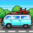 Family road trip summer vacation pixel clipart — Stock Photo #25369803