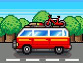 Car going for summer holiday trip - retro pixel illustration — Stock Photo