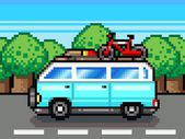 Family road trip summer vacation pixel clipart — Stock Photo