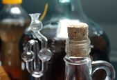 Closeup of homemade wine bottle — Stock Photo