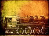 Retro vintage technology, old steam trains, background — Stock Photo