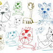 Children pets drawings isolated on white — Stock Photo