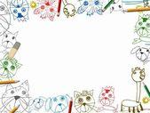 Sfondo di sketchbook bambino con illustrazione cornice matite di colore — Foto Stock