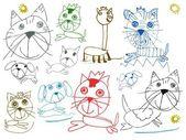 Děti zvířata kresby izolovaných na bílém — Stock fotografie