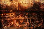Rusty train industrial steam-punk background — Stock Photo