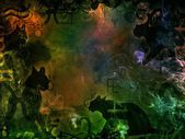 绿色魔法背景与黑猫形状 — 图库照片