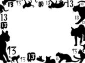 Thirteen black cats frame — Stock Photo
