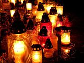Lights of Cemetery Candles at night — Stock Photo