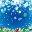 Gifts and snowflakes beautiful blue background — Stock Photo