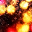 Warm christmas light shaft snowflakes background — Stock Photo