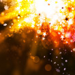 Gold elegant xmas abstract background with lights and stars — Stock Photo