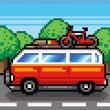 Car going for summer holiday trip - retro pixel vector illustration  — Векторная иллюстрация
