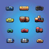 Pixel art cars collection, vector illustration — Stock Vector