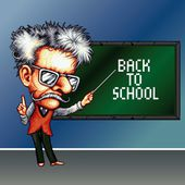 8 bit pixel teacher on the school blackboard background with phrase Back to school — Stock Vector
