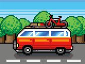 Car going for summer holiday trip - retro pixel vector illustration — Stock Vector
