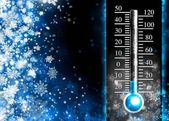 Below zero. Cold thermometer, minus temperature in cold winter — Stock Photo