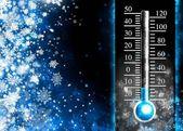 Below zero. Cold thermometer, minus temperature in cold winter — 图库照片