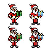 Santa claus 8-bit pixel art style collection — Stock Vector