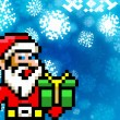 Santa claus retro pixel game 8-bit style background — Stock Photo #37160817