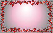 Valentines Day background frame, red hearts illustration — Cтоковый вектор