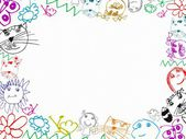 Colorful children's drawings frame background — Zdjęcie stockowe