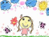 Child's drawing a happy girl with flower — Stock Photo