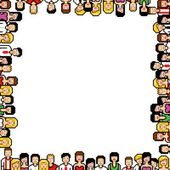 Pixel art people frame vector illustration — Stock Vector