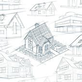 Architect desktop house sketch background — Stock fotografie