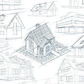 Architect desktop house sketch background — Stock Photo