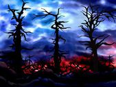 Haunted spooky forest background illustration — Stock Photo