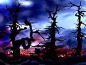 Dark and scary forest trees background — Stock fotografie