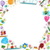 Child flowers frame - scribbles drawings background isolated — Stock Photo