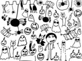 Children doodles of halloween monsters — Stock Photo