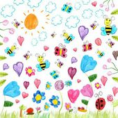 Meadow scribbles - child drawings background — Foto Stock