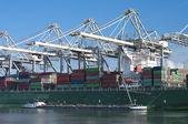 在港口的集装箱船 — 图库照片