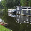 Houseboats in canal — Stock Photo