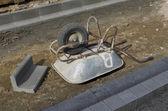 Upside down wheelbarrow — Stock Photo