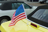 American flag on car — Stock Photo
