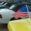 American flag on car — 图库照片