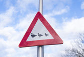 Crossing ducks sign — Stock Photo