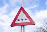 Crossing ducks sign — Stock Photo