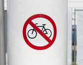 Forbidden for bicycles sign — Stock Photo