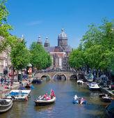 Průplav amsterdam — Stock fotografie