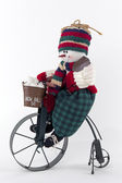 Snowman On Bicycle — Stock Photo